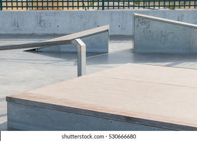 Skate track. Close up of a metallic ramp in a skate park.