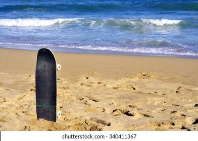 skateboard at the beach