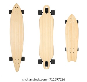 Skateboard mock up, blank longboard on isolated white background