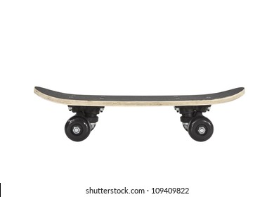 Skateboard profile isolated on white with clipping path.