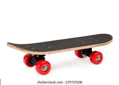 skateboard with red wheels on white background