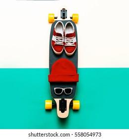 Skateboard, Sunglasses, Cap, Sneakers. Love Urban fashion. Minimal Design Street style