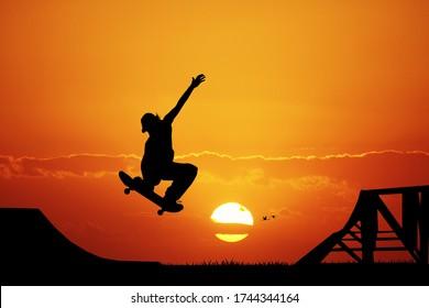 skateboard at sunset in a ramp