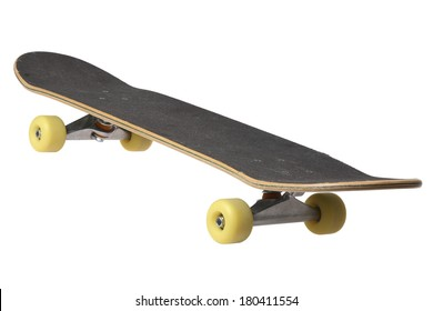 skateboard with yellow wheels on white