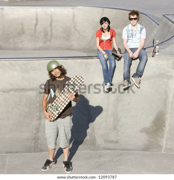Skateboarder and friends