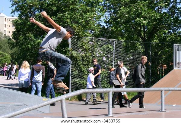 Skateboarder at Kista Open in Sweden
