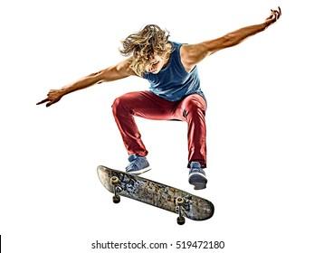 skateboarder jeune adolescent isolé
