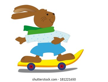 Skateboarding easter bunny