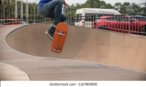 Skateboarding on skatepark ramp