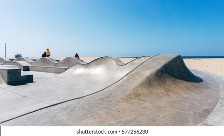 Skatepark on a beach in California USA