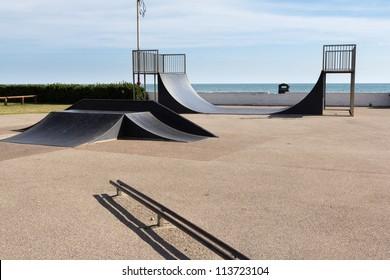 Skatepark on the seafront at Bognor Regis, West Sussex England UK