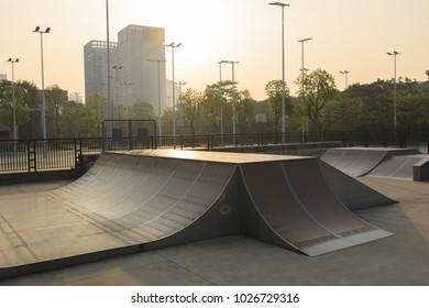 skatepark ramp at city