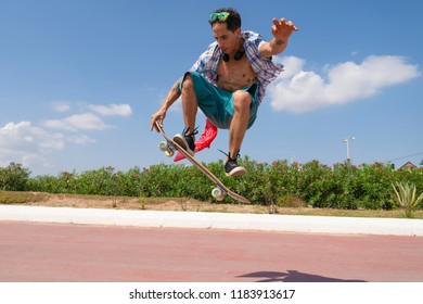 skater in the beach life concept