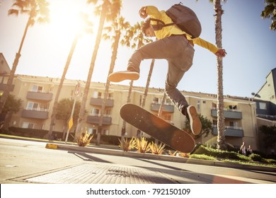 Skater boy going at the skate park in Venice