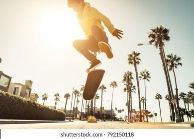 Skater boy on the street in Los angeles. Skateboarding in venice, California