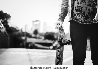 Skater girl out in the city