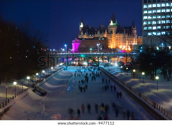 Skaters on the Rideau Canal, a UNESCO heritage site, during Winterlude, the winter festival held each year in Ottawa Canada