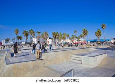 Skaters in a Venice Beach Skatepark, Los Angeles, California