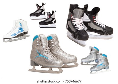 skates for skating on ice, a set of skates for men and women, isolated on white background