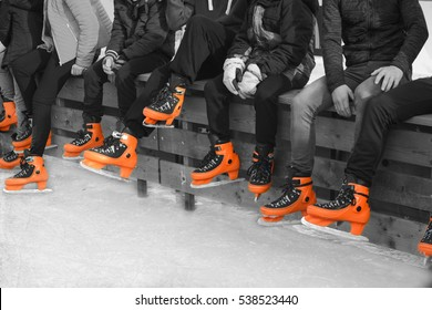 Skating on the ice.