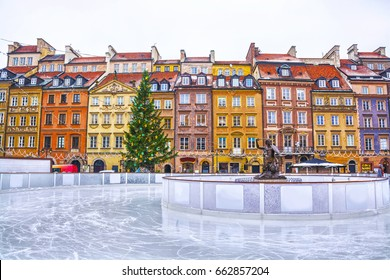 Skating rink in the Old town square in Warsaw on the eve of Christmas, Poland.