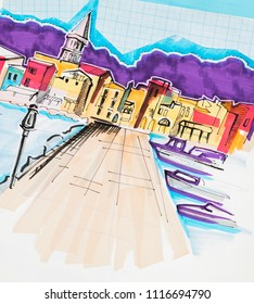 skech illustration of travel, Italy
