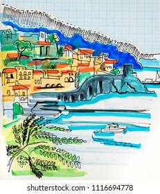 skech illustration of travel, Spain