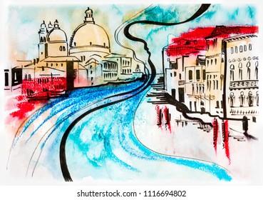 skech illustration of travel, Venice