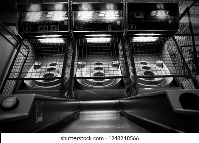 skee ball games in black and white