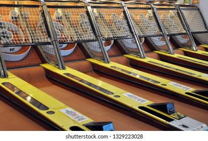 Skeeball game in an Arcade