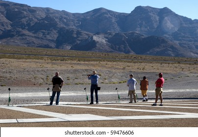 Skeet shooting at a desert range