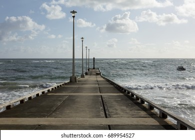 Skeete's Bay Public Jetty. Skeete's Bay is a small bay on the east coast of Barbados. The Atlantic Ocean pounds the coast on this side of the island making fishing a precarious business.