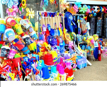 SKEGNESS, LINCOLNSHIRE, UK. JULY 15, 2014. A large stock of beach essentials stocked at a beach shop on the promenade at Skegness in Lincolnshire, uk.
