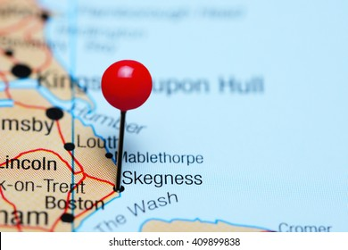 Skegness pinned on a map of UK