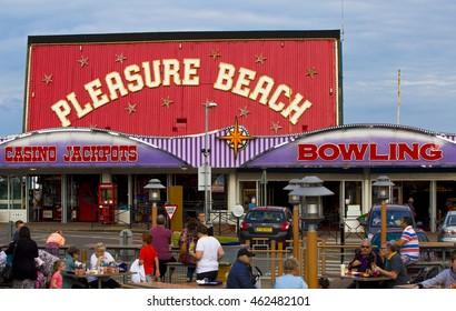 SKEGNESS, UK - 30 JULY 2016.  Skegness Pleasure Beach buildings