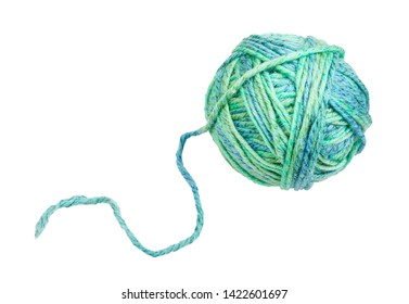skein of greenish blue melange yarn with unwound tail isolated on white background