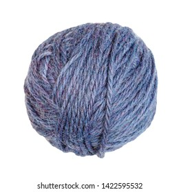 skein of melange blue yarn isolated on white background