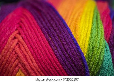 Skein of yarn in vibrant colors