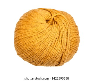 skein of yellow yarn isolated on white background
