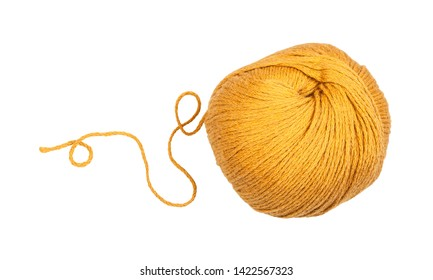 skein of yellow yarn with unwound tail isolated on white background