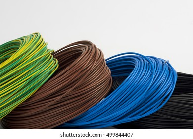 skeins of colored electric wire