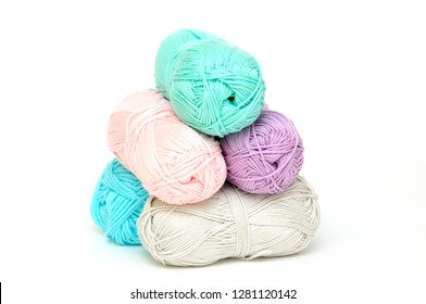 skeins of wool on a white background