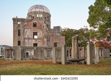 The skeletal ruins of Atomic Bomb Dome, the former Hiroshima Prefectural Industrial Promotion Hall, which has been at the atomic bomb hypocenter. Hiroshima. Japan