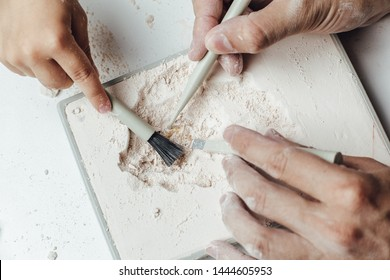 Skeleton and archaeological tools.Training for dig fossil.Simulated same as real digging. Archaeological tools, Archeaologist working on site, close-up, hand and tool.