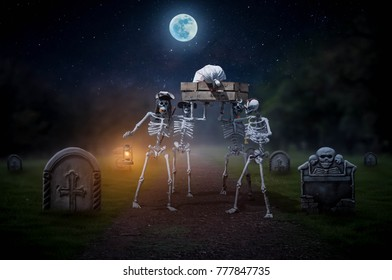 Skeleton army ghost carries a dead body to the cemetery on a full moon night.
