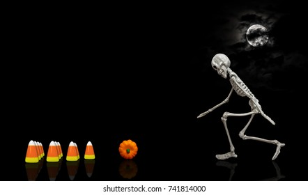 Skeleton Bowling / Halloween skeleton bowling a pumpkin into candy corn pins during the night under a nice moon covered with dark clouds