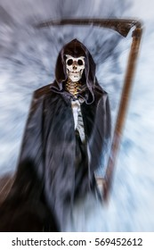 A skeleton with cape and scythe is enveloped in mist