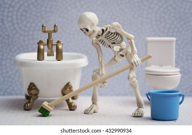 Skeleton cleaning bathroom