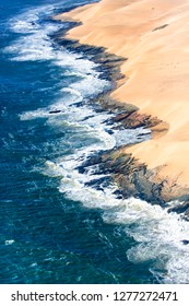 Skeleton Coast, Namibia. Aerial view of the sand dune coast line.
