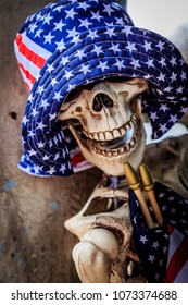 Skeleton decorated for 4th of July.